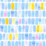 Seamless pattern with abstract geometric figures. Watercolor vertical stripes lined up in straight rows, blue, yellow and violet colors. - 218403778