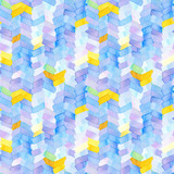 Seamless pattern with abstract geometric figures. Watercolor stripes like a trace of the wheel, stripes merge smoothly into one pattern, blue, yellow and violet colors. - 218403793