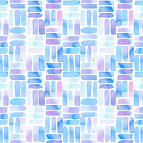 Seamless pattern with abstract geometric figures. Watercolor line-spots in the tiled pattern, blue and violet colors. - 218404154