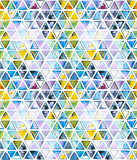 Seamless pattern with abstract geometric triangles. Watercolor spots, shapes, beautiful paint stains like cosmic nebula. Background for parties, holidays, birthdays. - 218404526
