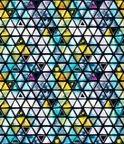 Seamless pattern with abstract geometric triangles, bee honeycomb. Watercolor spots, shapes, beautiful paint stains like cosmic nebula. Background for parties, holidays, birthdays. - 218404581