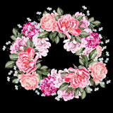 Watercolor wedding wreath with peony flowers. - 218404968