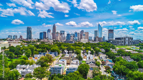 Foto Murales Downtown Charlotte, North Carolina, USA Skyline Aerial
