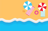 beach with umbrellas, towels and flip-flops- vector illustration - 218418370
