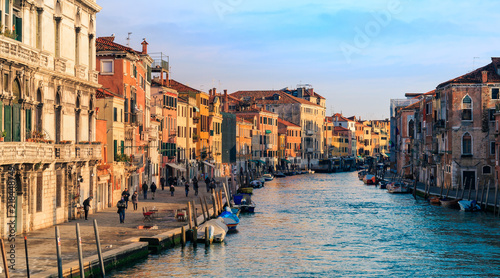 Sunset cityscape canals in Venice Italy