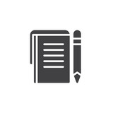 Notes paper and pen vector icon. filled flat sign for mobile concept and web design. Writing pad and pen simple solid icon. Symbol, logo illustration. Pixel perfect vector graphics - 218461982