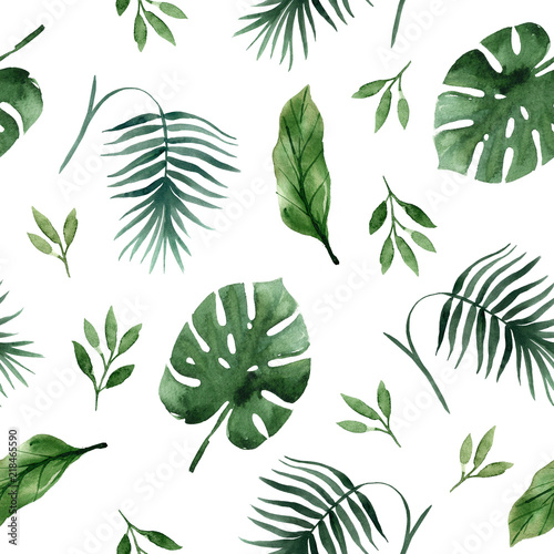 Seamless tropical pattern with palm leaves and branchese,hand drawn watercolor - 218465590