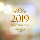 Happy New Year 2019 on blur abstract bokeh background, new year greeting card, banner - 218468737