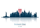 Twins Tower in New York City Skyline. World Trade Center. September 11, 2001 National Day of Remembrance. Patriot Day anniversary banner. Vector illustration. - 218471316