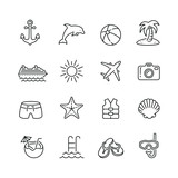 Holiday and summer related icons: thin vector icon set, black and white kit