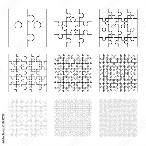 Large Set Of White Puzzles Pieces In Square Shape Jigsaw Puzzle Template Ready For Print