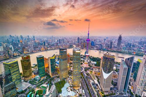 Leinwanddruck Bild Shanghai, China Aerial Financial District Cityscape