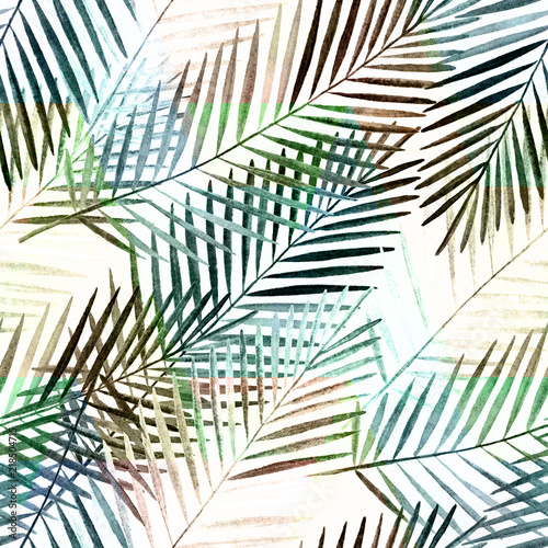 Seamless tropical pattern . Watercolor palm leaves on white background. - 218504715