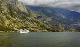 Cruise ship and tender  in Kotor Bay