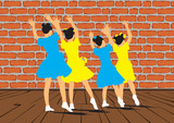 A group of young girls dancing synchronously