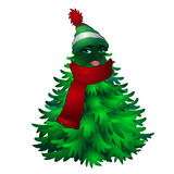 Christmas tree with woman face and striped hat with scarf isolated on white background. Sketch for greeting card, festive poster or party invitations.The attributes of Christmas and New year. Vector - 218533773