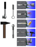 Appearance and installation diagram of steel expansion through bolt anchor and tools (wrench, metal brush, hammer)