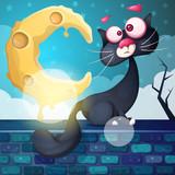 Funny, cute, crazy cat character. Moon cloud stone Vector eps 10