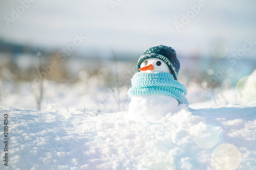 Leinwanddruck Bild Little snowman in a cap and a scarf on snow in the winter. Christmas card with a lovely snowman, copy space