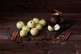 composition with apples, spices, mug on a dark background - 218541981
