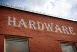 vintage hardware store sign - 218542907