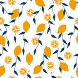 Lemon and blue leaves seamless pattern. Vector hand drawn illustration. - 218544120