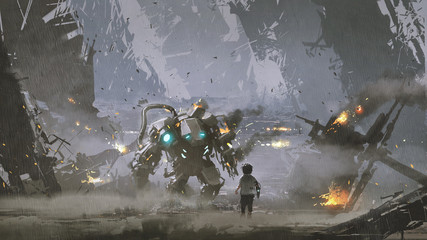 scene of the boy looking at the damaged robot who protected him from the war, digital art style, illustration painting © grandfailure