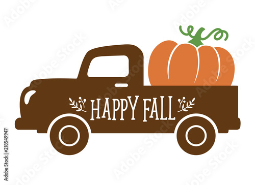 An old vintage truck with harvest pumpkin. Fall pumpkin vector illustration. - 218549947