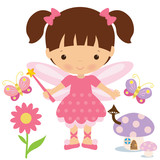 Garden fairy vector cartoon illustration