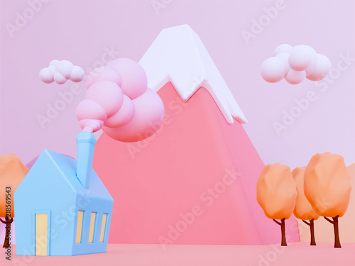 cartoon autumn mountain background 3d render. © patpongstock