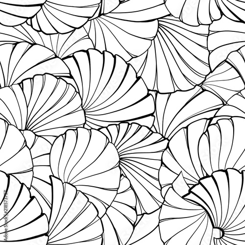 Abstract vector ethnic black and white seamless pattern