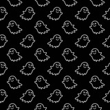 Halloween festive seamless pattern. Black endless background with smiling cute ghosts. Linear vector illustration