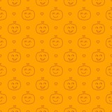 Halloween festive seamless pattern. Orange endless background with smiling cute pumpkin. Linear vector illustration