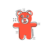 Vector cartoon teddy bear plush toy icon in comic style. Teddy toy sign illustration pictogram. Bear business splash effect concept.