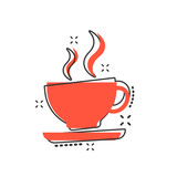 Vector cartoon coffee cup icon in comic style. Tea mug sign illustration pictogram. Coffee business splash effect concept.