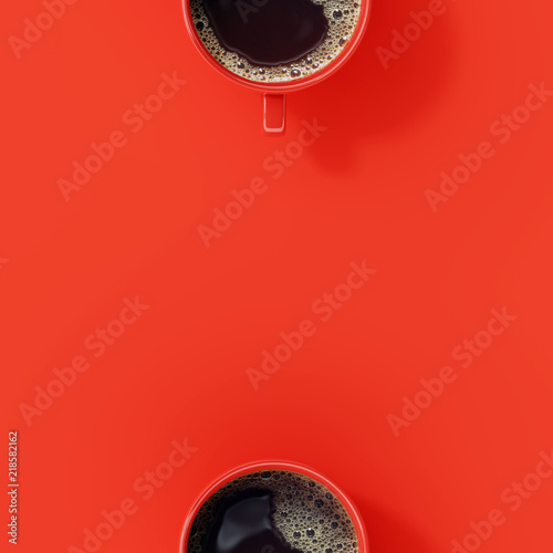 Top view of coffee cup on red background. © aanbetta