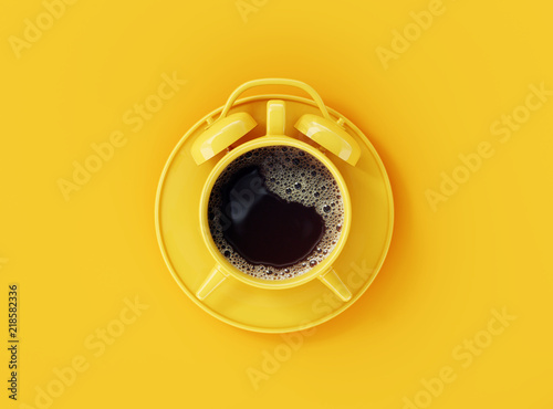 Coffee clock on yellow background. creative idea. minimal concept © aanbetta