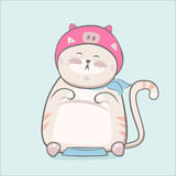 Cute cat hand drawn cartoon