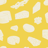 Cheese graphic yellow color seamless pattern sketch background illustration vector - 218587367
