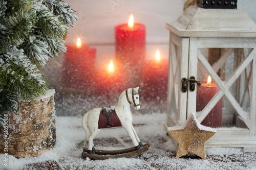 Leinwanddruck Bild Christmas Decoration Ornaments/Candles