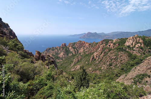 Canvas Blauwe hemel Gulf of Porto in Corsica coast