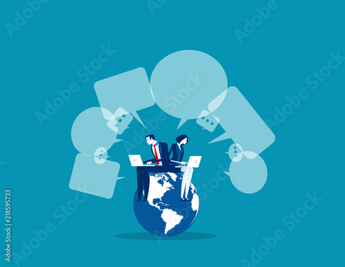 Business global communication, Concept business vector, Technology, Network and Connection, Social media.