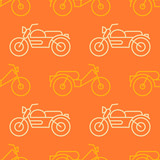 Seamless pattern with motorcycles and mopeds for your design