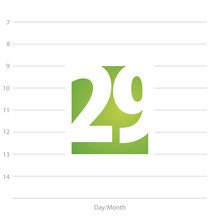 2019 Calendar Day 29 Planner Green  Sticker