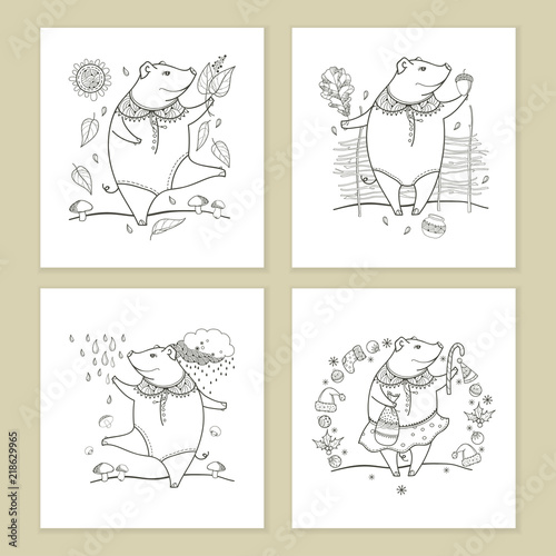Vector set of greeting card with outline black cute funny pig ...