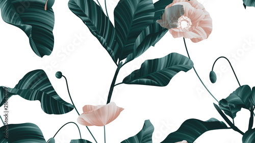 Seamless pattern, brown poppy flowers with green leaves on white background - 218630189