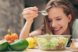 Smiling chef in the kitchen - 218639583