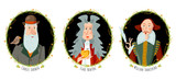 History of England. Portraits of famous people. William Shakespeare, Isaac Newton, Charles Darwin.
