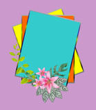 Flower bouquet composition on colorful card .Wedding concept.