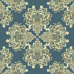 Seamless vintage vector background. Vector floral wallpaper baroque style pattern © meduzzza